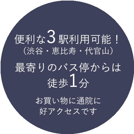 便利な3駅利用可能! (渋谷・恵比寿・代官山) 最寄りのバス停からは 徒歩1分 お買い物に通院に 好アクセスです